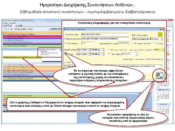 Ημερολόγιο Διαχείρισης Συναντήσεων Ασθενών. . (Εβδομαδιαία απεικόνιση συναντήσεων – συμπεριλαμβανομένου Σαββατοκύριακου) Αναλυτικές πληροφορίες για