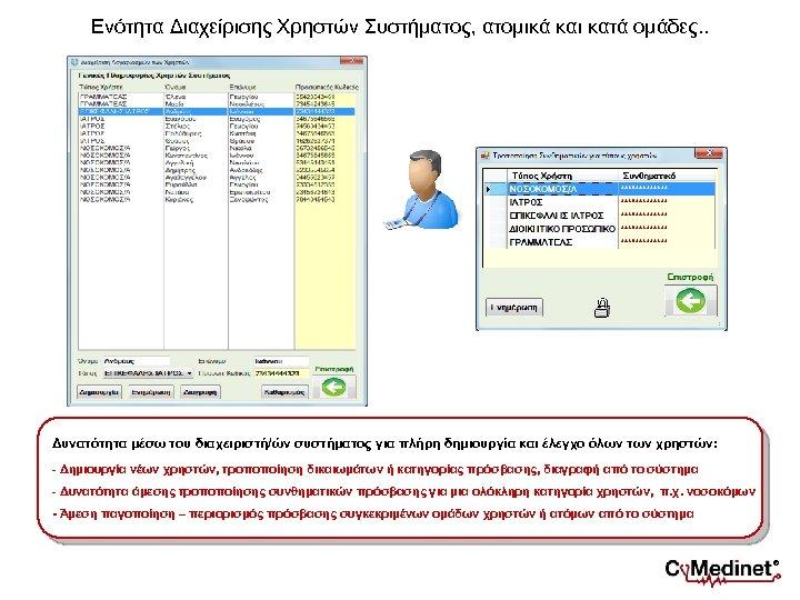 Ενότητα Διαχείρισης Χρηστών Συστήματος, ατομικά και κατά ομάδες. . Δυνατότητα μέσω του διαχειριστή/ών συστήματος