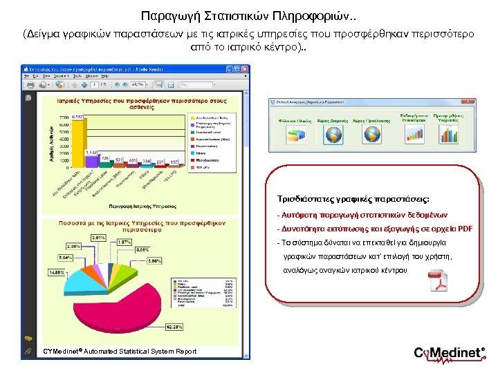 Παραγωγή Στατιστικών Πληροφοριών. . (Δείγμα γραφικών παραστάσεων με τις ιατρικές υπηρεσίες που προσφέρθηκαν περισσότερο