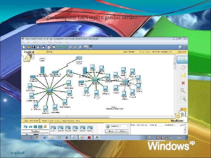 Desain jaringan komputer LAN seperti gambar berikut : 3/19/2018