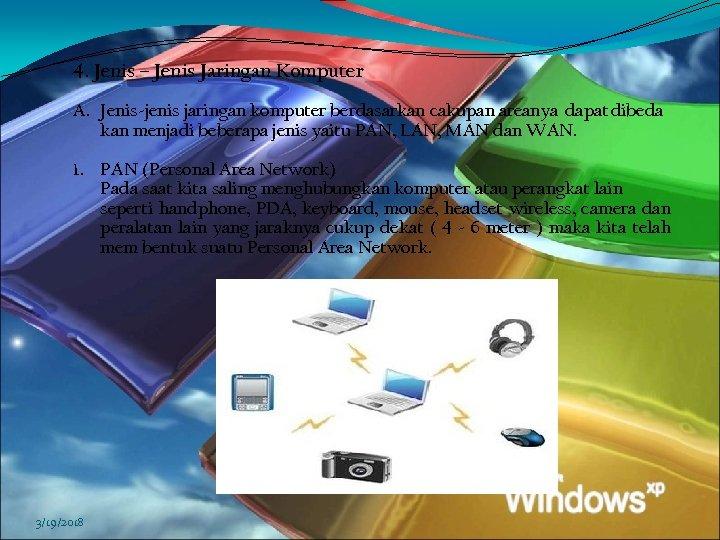 4. Jenis – Jenis Jaringan Komputer A. Jenis-jenis jaringan komputer berdasarkan cakupan areanya dapat