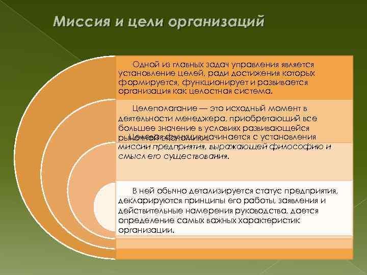 Миссия и цели организаций Одной из главных задач управления является установление целей, ради достижения