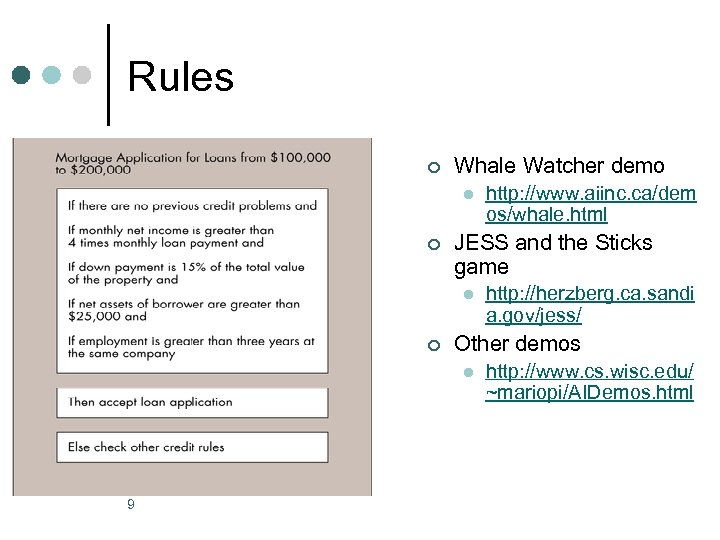 Rules ¢ Whale Watcher demo l ¢ JESS and the Sticks game l ¢