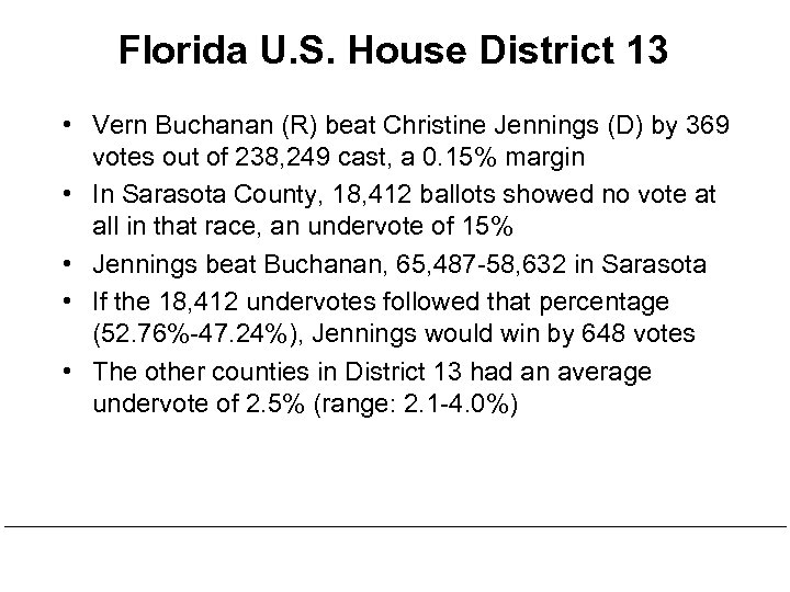 Florida U. S. House District 13 • Vern Buchanan (R) beat Christine Jennings (D)