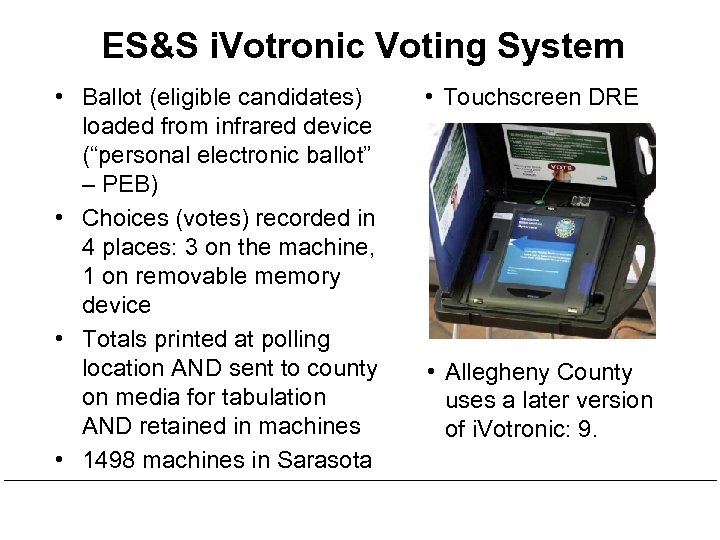 """ES&S i. Votronic Voting System • Ballot (eligible candidates) loaded from infrared device (""""personal"""