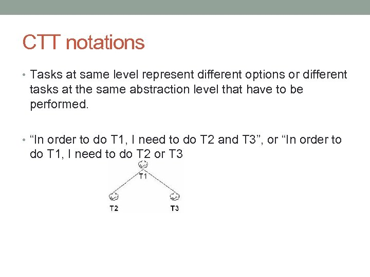 CTT notations • Tasks at same level represent different options or different tasks at