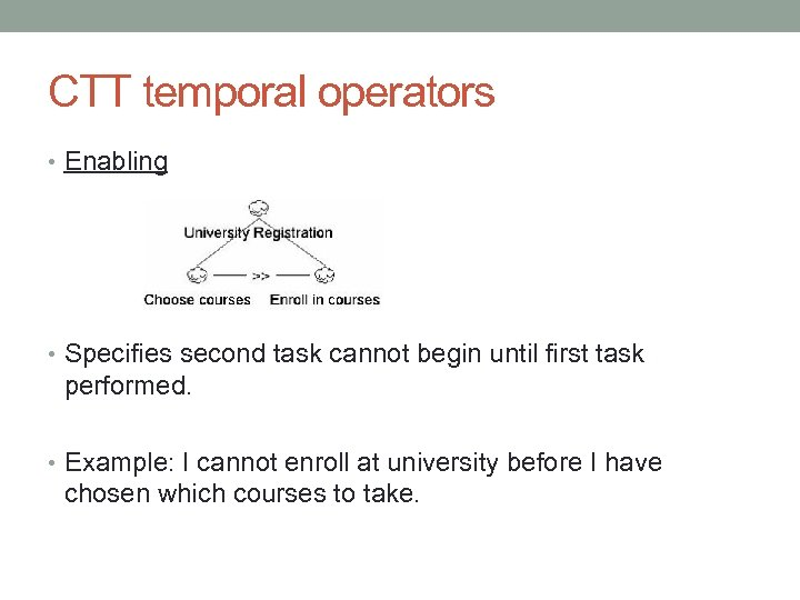 CTT temporal operators • Enabling • Specifies second task cannot begin until first task