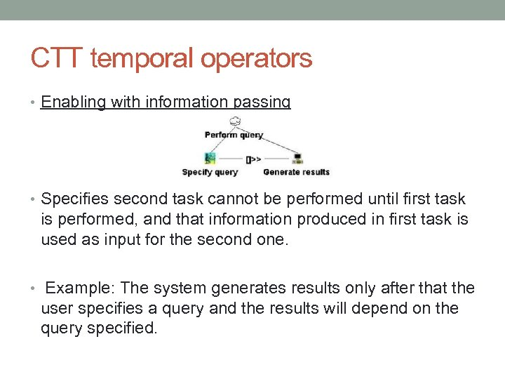 CTT temporal operators • Enabling with information passing • Specifies second task cannot be