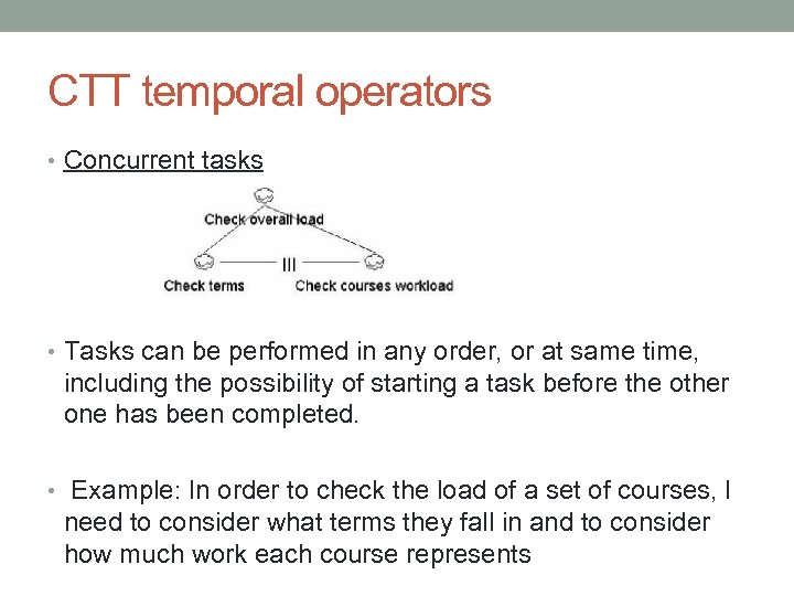 CTT temporal operators • Concurrent tasks • Tasks can be performed in any order,