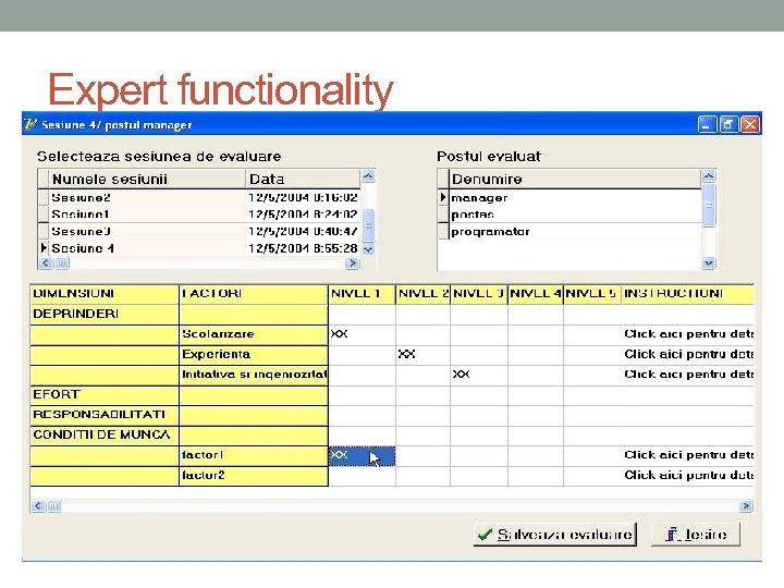 Expert functionality