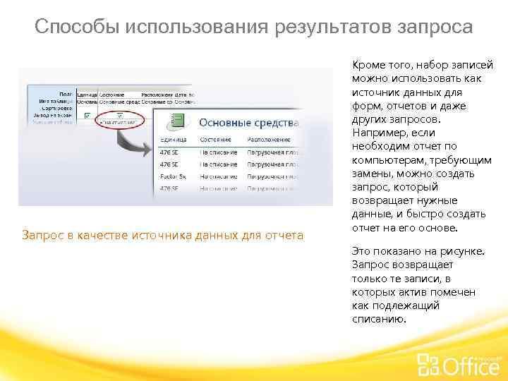 Способы использования результатов запроса Запрос в качестве источника данных для отчета Кроме того, набор