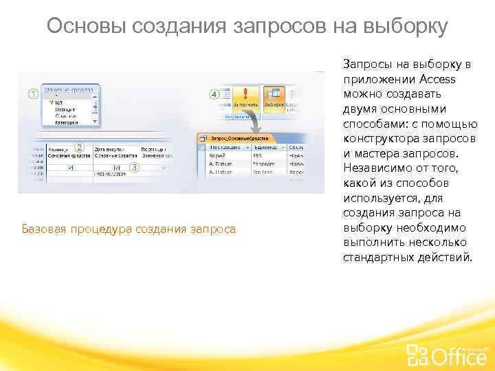 Основы создания запросов на выборку Базовая процедура создания запроса Запросы на выборку в приложении