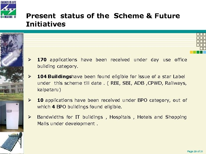 Present status of the Scheme & Future Initiatives Ø 170 applications have been received