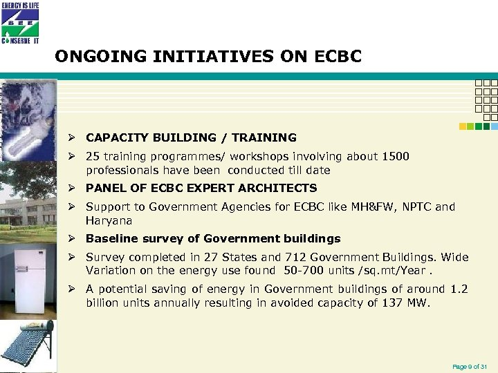 ONGOING INITIATIVES ON ECBC Ø CAPACITY BUILDING / TRAINING Ø 25 training programmes/ workshops