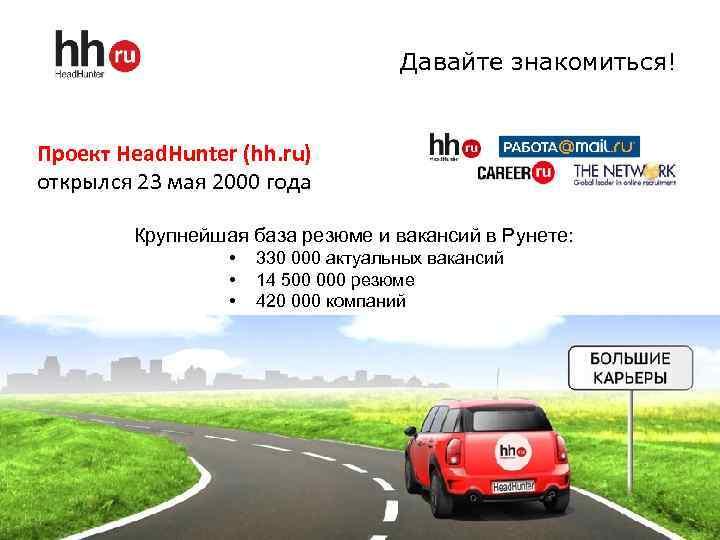 Давайте знакомиться! Проект Head. Hunter (hh. ru) открылся 23 мая 2000 года Крупнейшая база