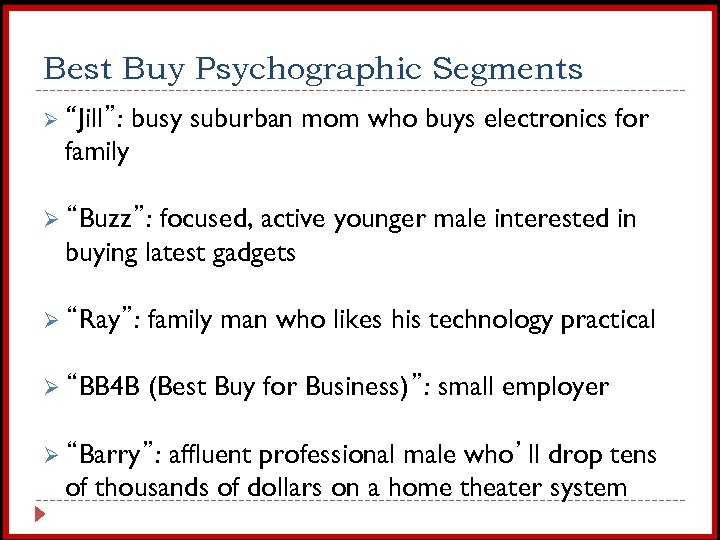 "Best Buy Psychographic Segments Ø ""Jill"": busy suburban mom who buys electronics for family"