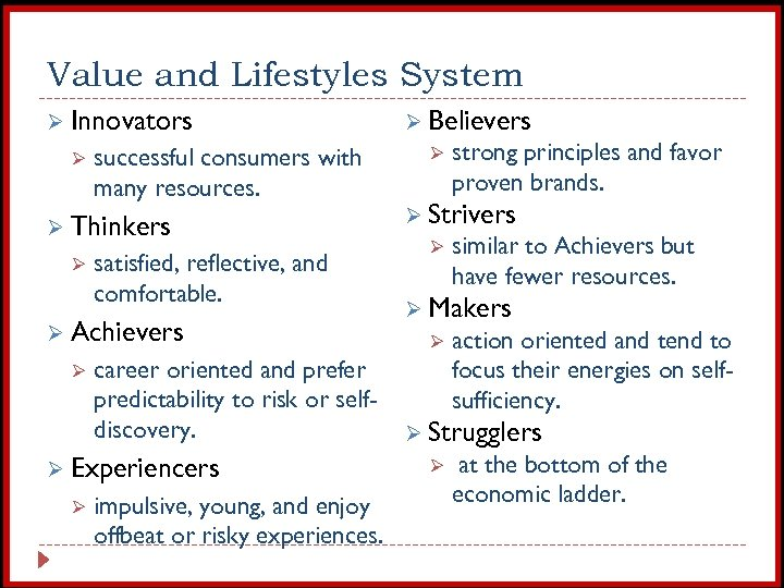 Value and Lifestyles System Ø Innovators Ø successful consumers with many resources. Ø Thinkers
