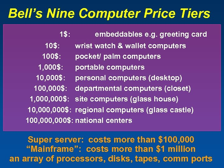 Bell's Nine Computer Price Tiers 1$: embeddables e. g. greeting card 10$: wrist watch
