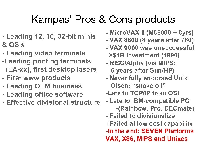 Kampas' Pros & Cons products - Leading 12, 16, 32 -bit minis & OS's