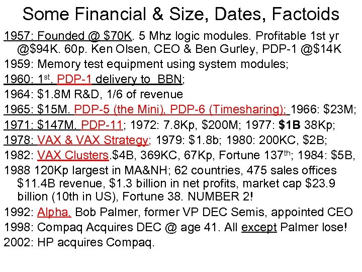 Some Financial & Size, Dates, Factoids 1957: Founded @ $70 K. 5 Mhz logic