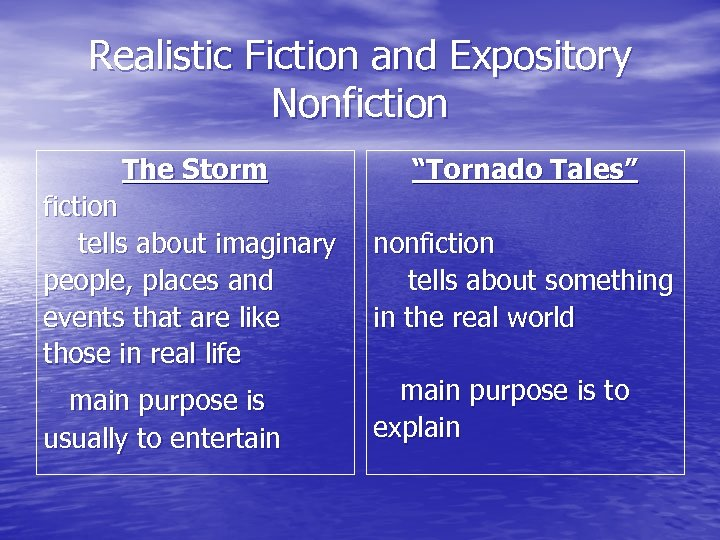 "Realistic Fiction and Expository Nonfiction The Storm ""Tornado Tales"" fiction tells about imaginary people,"
