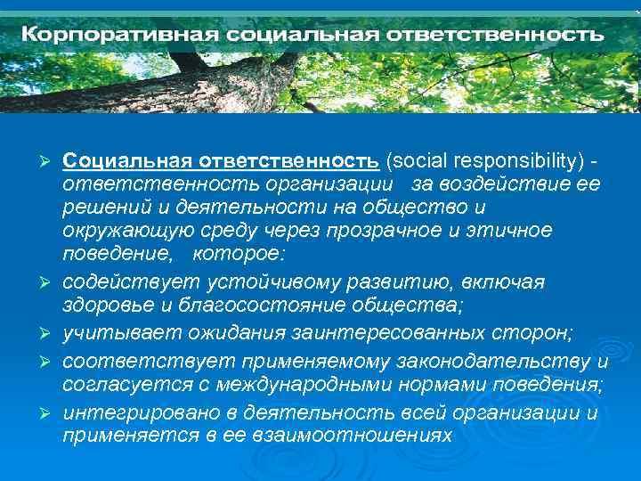 Стандарт ИСО 26000: 2010 Ø Ø Ø Социальная ответственность (social responsibility) ответственность организации за
