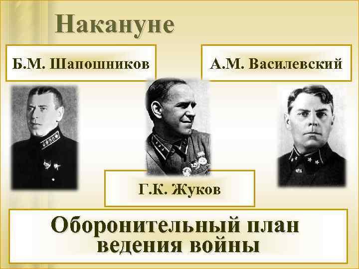 Накануне Б. М. Шапошников А. М. Василевский Г. К. Жуков Оборонительный план ведения войны