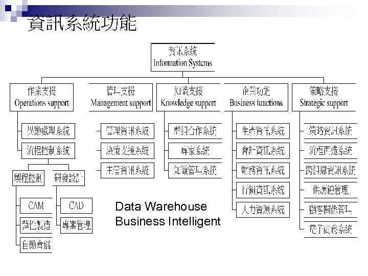 資訊系統功能 Data Warehouse Business Intelligent