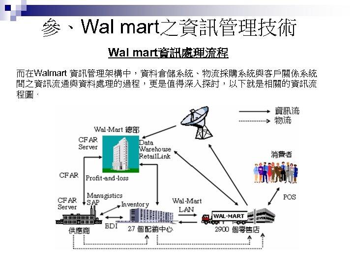 參、Wal mart之資訊管理技術 Wal mart資訊處理流程 而在Walmart 資訊管理架構中,資料倉儲系統、物流採購系統與客戶關係系統 間之資訊流通與資料處理的過程,更是值得深入探討,以下就是相關的資訊流 程圖。