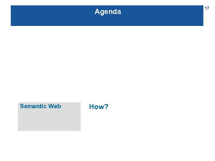 Agenda Semantic Web How? 17