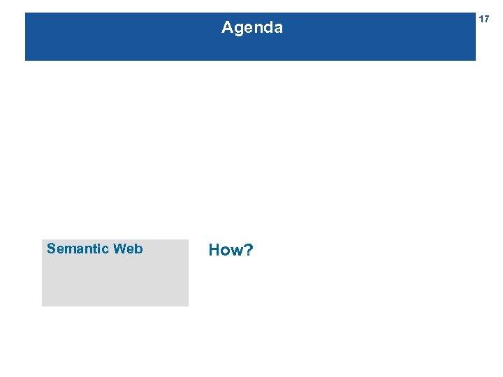 Agenda Semantic Web How? 17