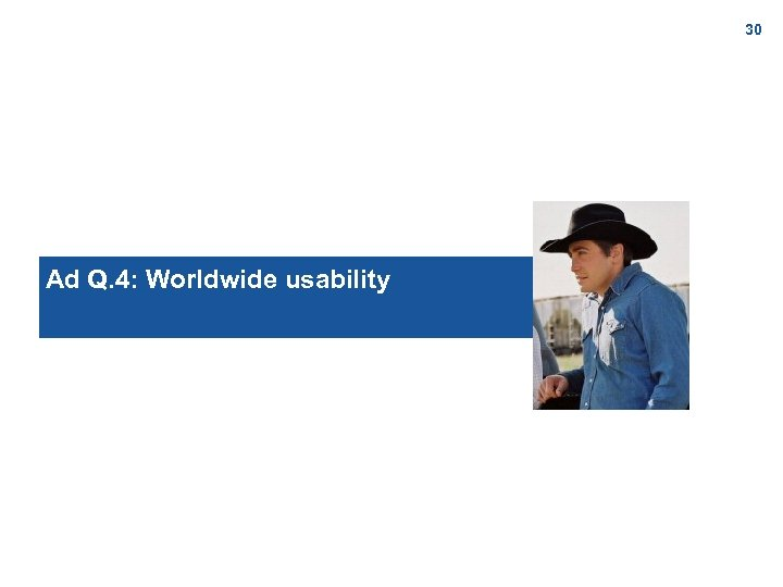 30 Ad Q. 4: Worldwide usability