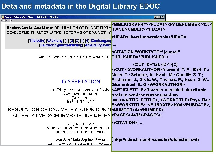 Data and metadata in the Digital Library EDOC 44 <BIBLIOGRAPHY><FLOAT><PAGENUMBER>136< /PAGENUMBER></FLOAT> <HEAD>Literaturverzeichnis</HEAD>. . .