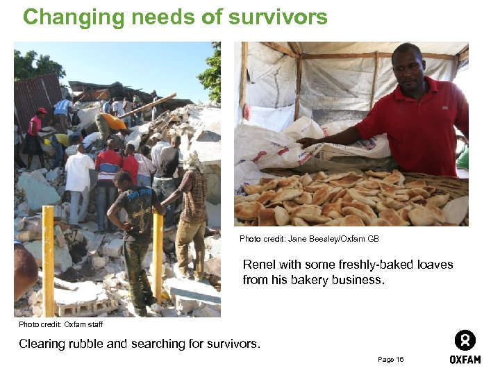 Changing needs of survivors Photo credit: Jane Beesley/Oxfam GB Renel with some freshly-baked loaves