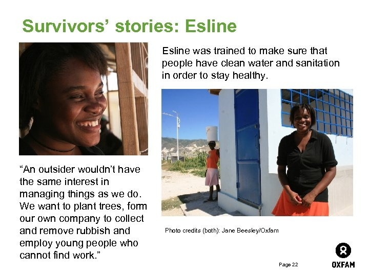 Survivors' stories: Esline was trained to make sure that people have clean water and