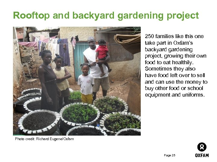 Rooftop and backyard gardening project 250 families like this one take part in Oxfam's