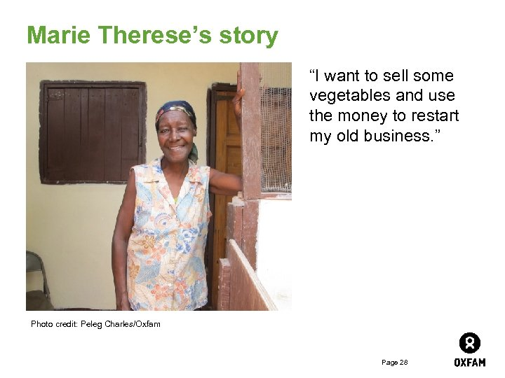 """Marie Therese's story """"I want to sell some vegetables and use the money to"""
