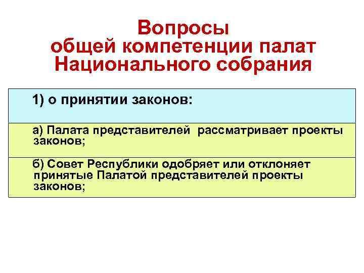 Вопросы общей компетенции палат Национального собрания 1) о принятии законов: а) Палата представителей рассматривает