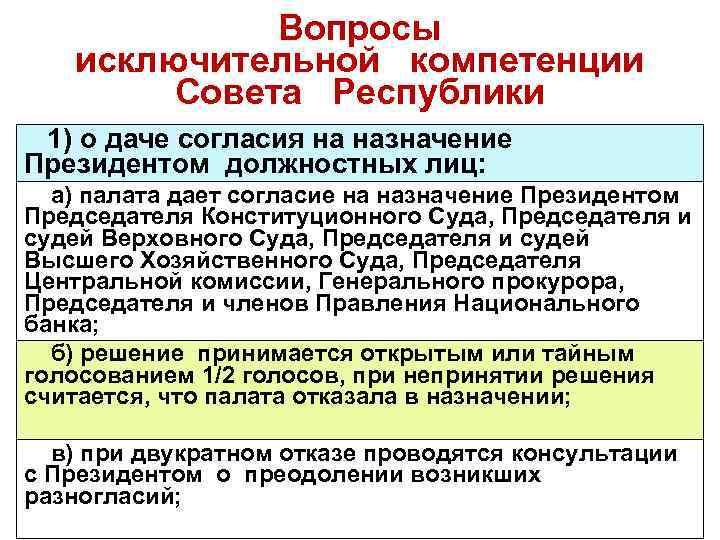 Вопросы исключительной компетенции Совета Республики 1) о даче согласия на назначение Президентом должностных лиц: