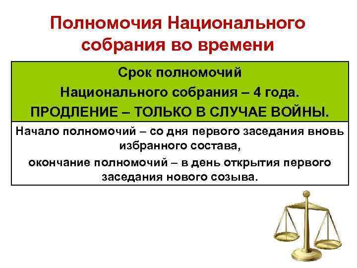 Полномочия Национального собрания во времени Срок полномочий Национального собрания – 4 года. ПРОДЛЕНИЕ –