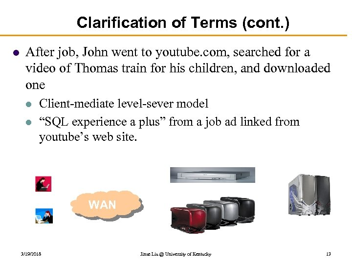 Clarification of Terms (cont. ) l After job, John went to youtube. com, searched