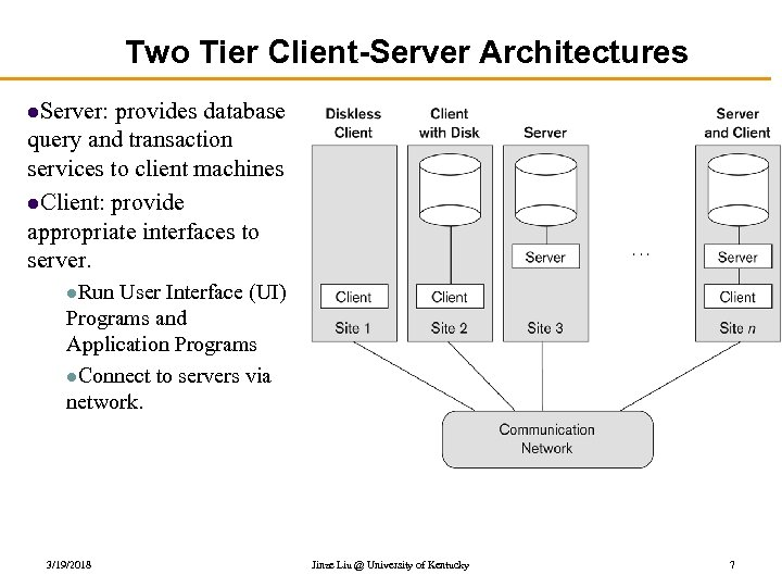 Two Tier Client-Server Architectures l. Server: provides database query and transaction services to client