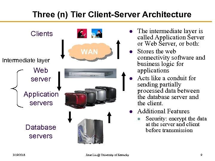 Three (n) Tier Client-Server Architecture l Clients WAN l Intermediate layer Web server l