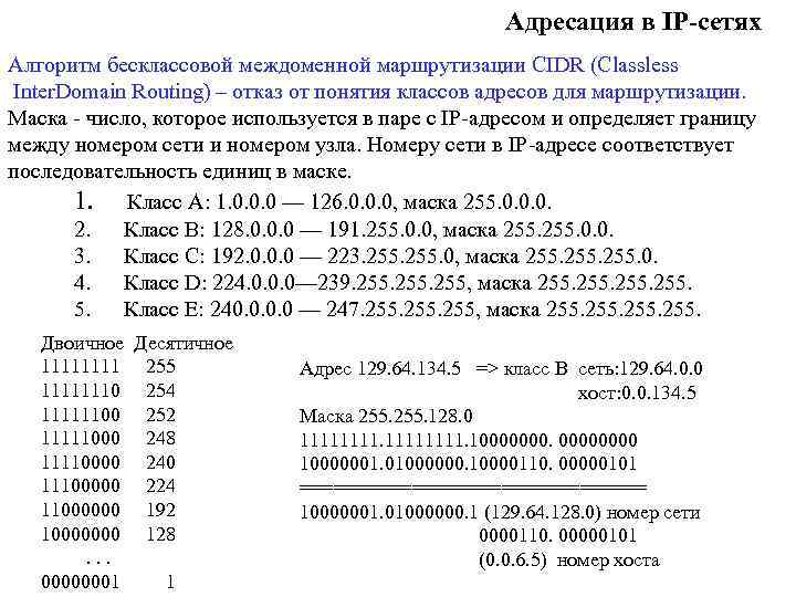 Адресация в IP-сетях Алгоритм бесклассовой междоменной маршрутизации CIDR (Classless Inter. Domain Routing) – отказ