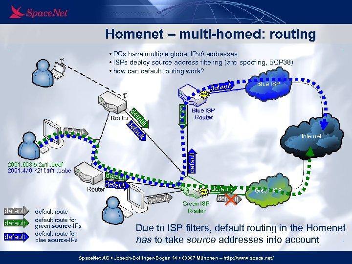 Homenet – multi-homed: routing • PCs have multiple global IPv 6 addresses • ISPs