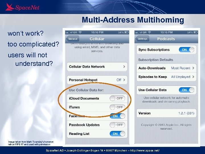 Multi-Address Multihoming won't work? too complicated? users will not understand? Image taken from Mark