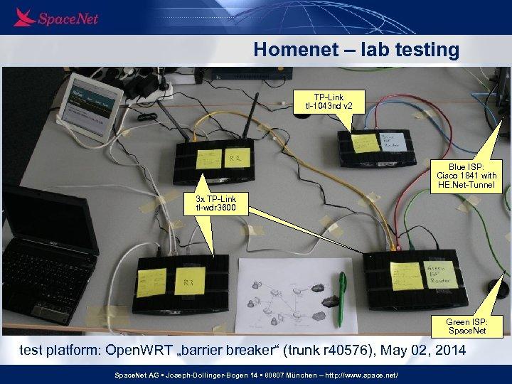 Homenet – lab testing TP-Link tl-1043 nd v 2 Blue ISP: Cisco 1841 with