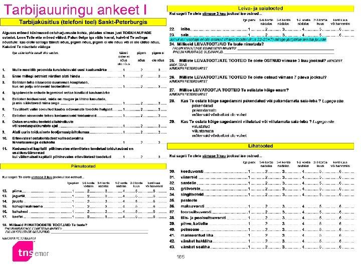 Tarbijauuringu ankeet I 165