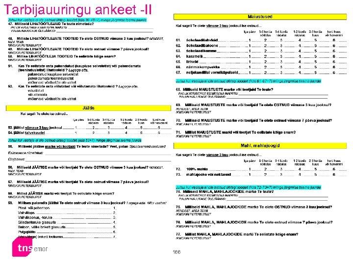 Tarbijauuringu ankeet -II 166