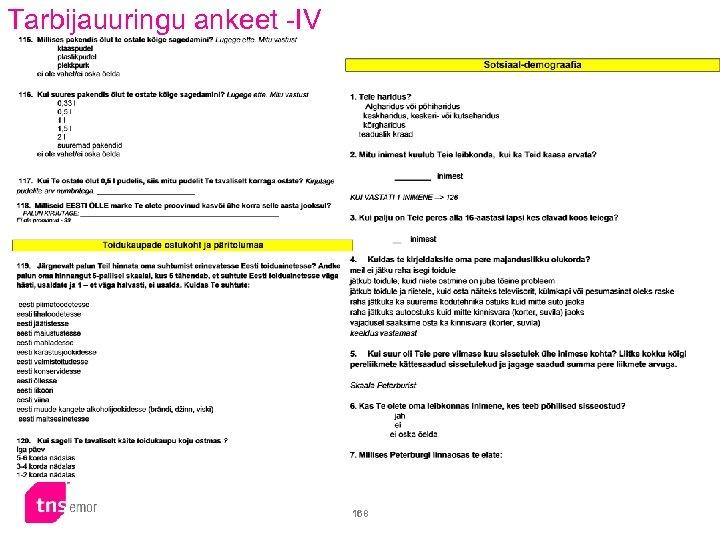 Tarbijauuringu ankeet -IV 168